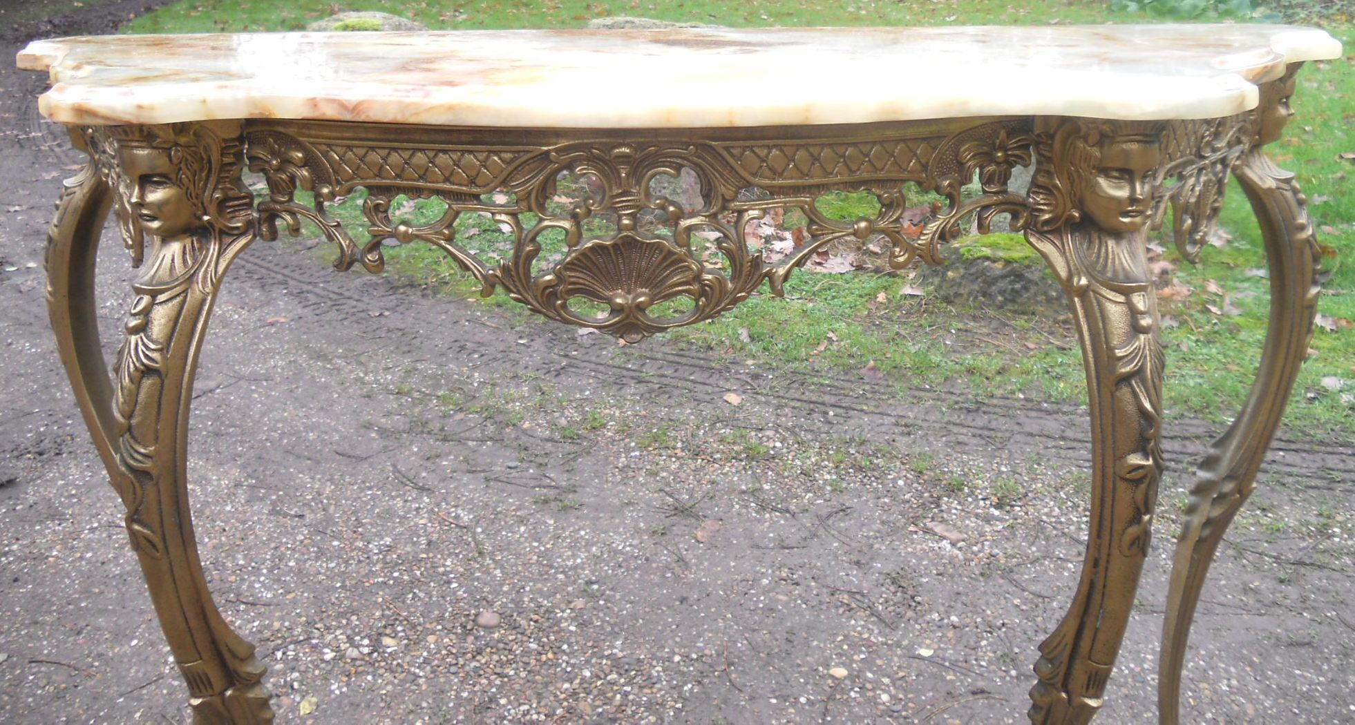 Sold Marble Top Gilt Metal Base Console Table
